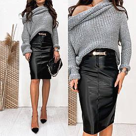 Женская юбка карандаш из эко-кожи 42,44,46,48,50,52