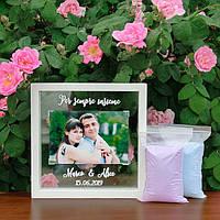 """Набір для пісочної церемонії: """"Рамка під фото"""" з Вашої написом, фото 1"""