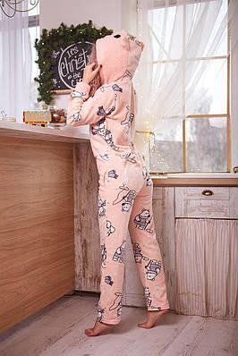 Пижама комбинезон с карманом (вырезом) на попе теплая розовая