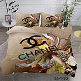 Комплект постельного  белья двухсторонний Гермес Сатин Эксклюзив Премиум качество   Евро размер Леопардовый, фото 2