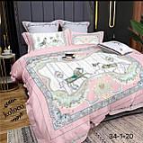Комплект постельного  белья двухсторонний Гермес Сатин Эксклюзив Премиум качество   Евро размер Леопардовый, фото 3