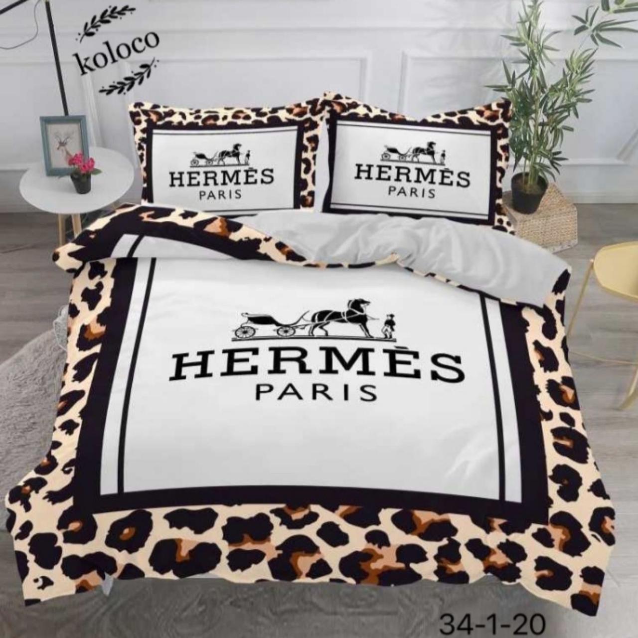 Комплект постельного  белья двухсторонний Гермес Сатин Эксклюзив Премиум качество   Евро размер Леопардовый