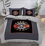 Комплект постельного  белья двухсторонний Гермес Сатин Эксклюзив Премиум качество   Евро размер Леопардовый, фото 4
