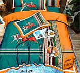 Комплект постельного  белья двухсторонний Гермес Сатин Эксклюзив Премиум качество   Евро размер Леопардовый, фото 7