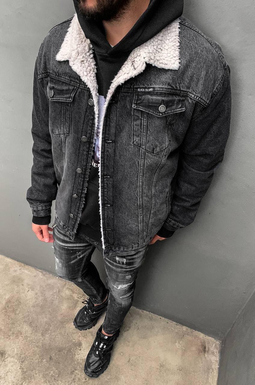 Мужская джинсовая куртка с мехом Black Island 5818-3509 dark grey