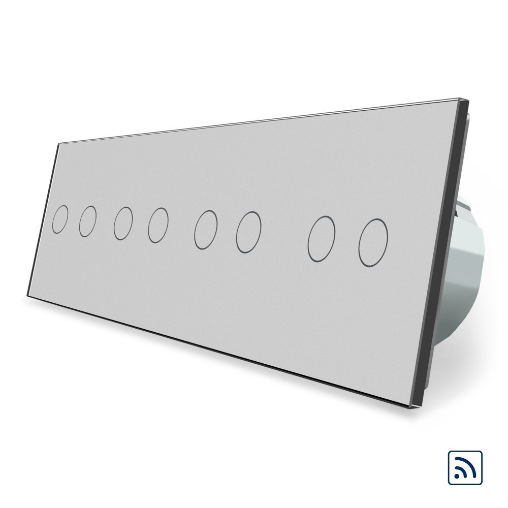 Сенсорний радіокерований вимикач Livolo 8 каналу (2-2-2-2) сірий скло (VL-C708R-15)
