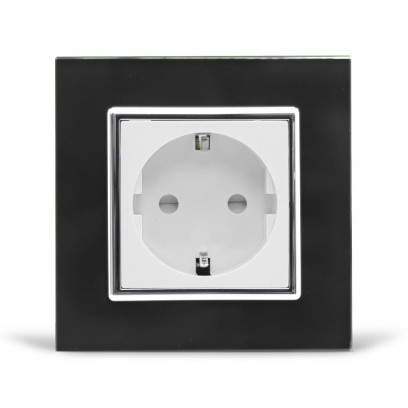 Розетка з заземленням Livolo чорний білий хром скло (VL-C7C1EU-12/11C)