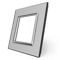 Рамка розетки Livolo 1 пост серый стекло (VL-C7-SR-15), фото 1