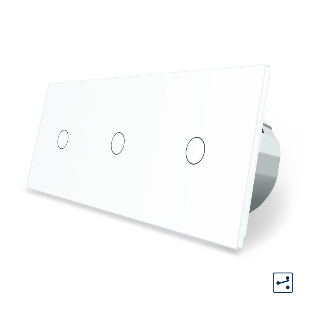 Сенсорный проходной выключатель Livolo 3 канала (1-1-1) белый стекло (VL-C703S-11)