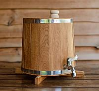 Бочка (жбан) дубовый для напитков 10 литров (вертикальный), фото 1
