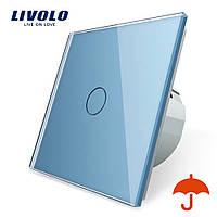 Сенсорний вимикач Livolo для вулиці з захистом від бризок IP44 блакитний скло (VL-C701IP-19)