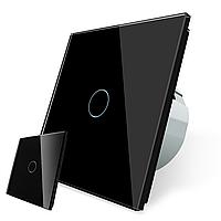 Сенсорний прохідний вимикач без проводів Livolo чорний (VL-C701R-C701RMT-12), фото 1