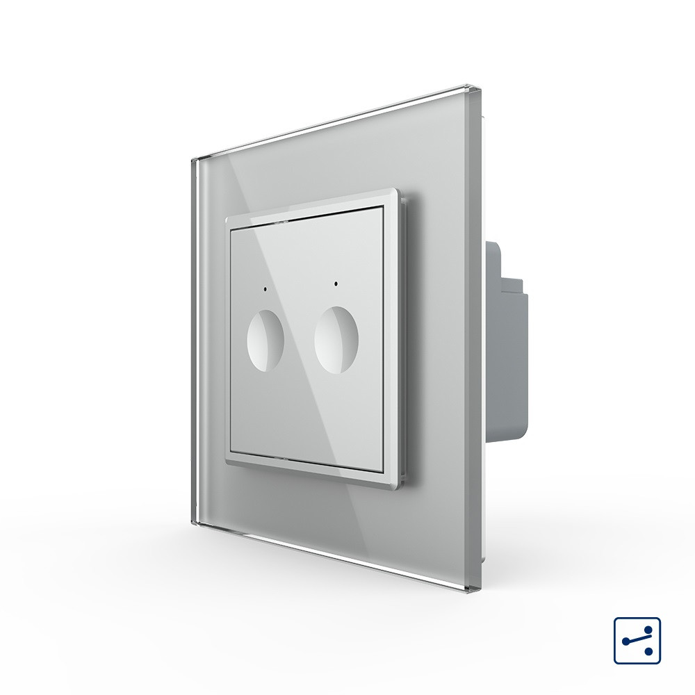 Сенсорний прохідний маршовий перехресний вимикач Livolo Sense 2 каналу сірий (722000415)