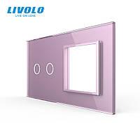 Сенсорная панель выключателя Livolo 2 канала и розетки (2-0) розовый стекло (VL-C7-C2/SR-17), фото 1