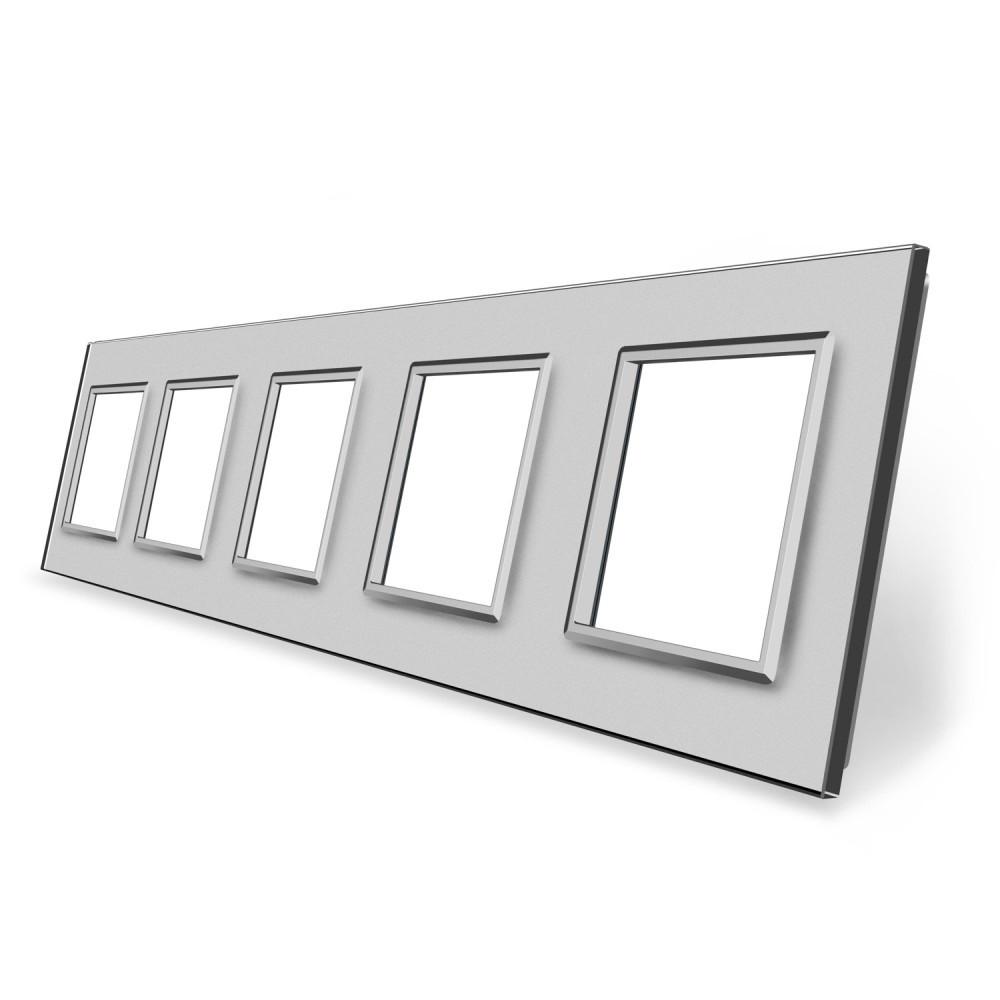 Рамка розетки Livolo 5 постов серый стекло (VL-C7-SR/SR/SR/SR/SR-15)