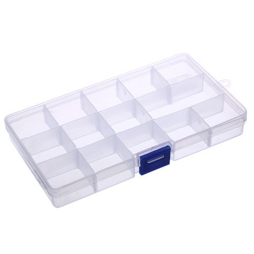 Коробка органайзер кейс для снастей бисера 170х95x22мм 15 ячеек