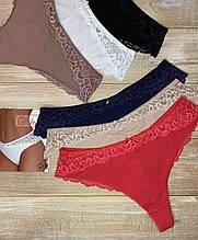 Трусики женские La Vivas 10150 кружевные, цвет Красный, размер XXL