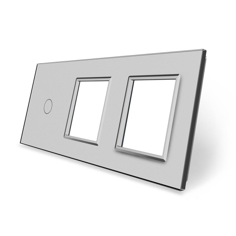 Сенсорная панель выключателя Livolo и двух розеток (1-0-0) серый стекло (VL-C7-C1/SR/SR-15)