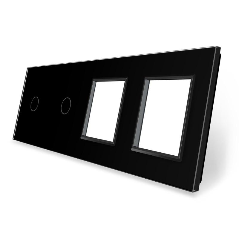 Сенсорная панель выключателя Livolo 2 канала и две розетки (1-1-0-0) черный стекло (VL-C7-C1/C1/SR/SR-12)