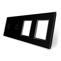 Сенсорная панель выключателя Livolo 2 канала и две розетки (1-1-0-0) черный стекло (VL-C7-C1/C1/SR/SR-12), фото 1
