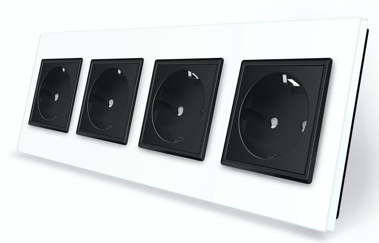 Розетка четырехместная с заземлением Livolo белый черный стекло (VL-C7C4EU-11/12)