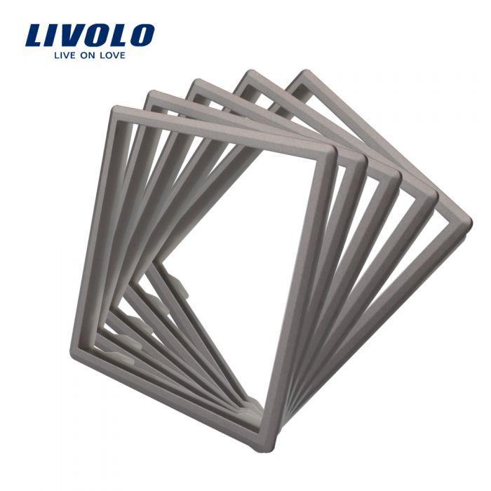Обідок розетки Livolo 5 шт сірий (DF10-15)
