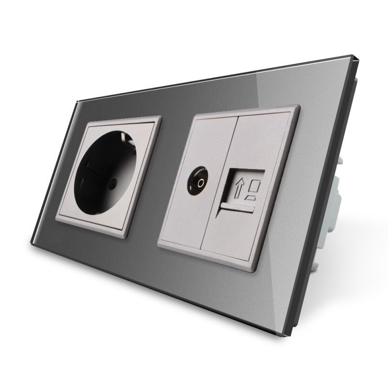 Розетка двухместная комбинированная Силовая Интернет ТВ Livolo серый стекло (VL-C7C1EU1V1C-15)
