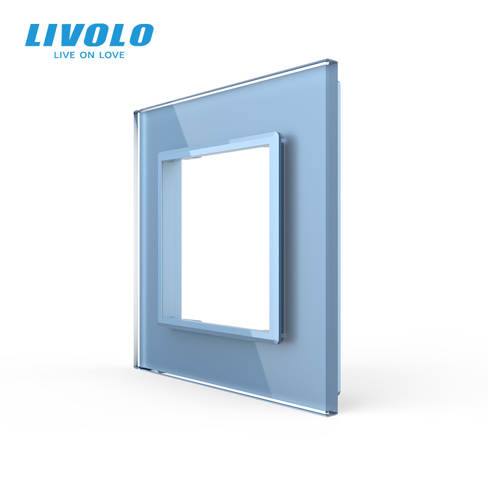 Рамка розетки Livolo 1 пост голубой стекло (VL-C7-SR-19)