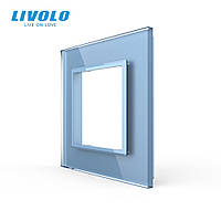 Рамка розетки Livolo 1 пост голубой стекло (VL-C7-SR-19), фото 1
