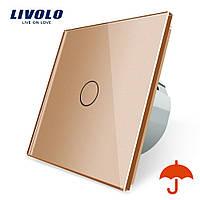 Сенсорний вимикач Livolo для вулиці з захистом від бризок IP44 золото скло (VL-C701IP-13)