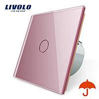 Сенсорний вимикач Livolo для вулиці з захистом від бризок IP44 рожевий скло (VL-C701IP-17)