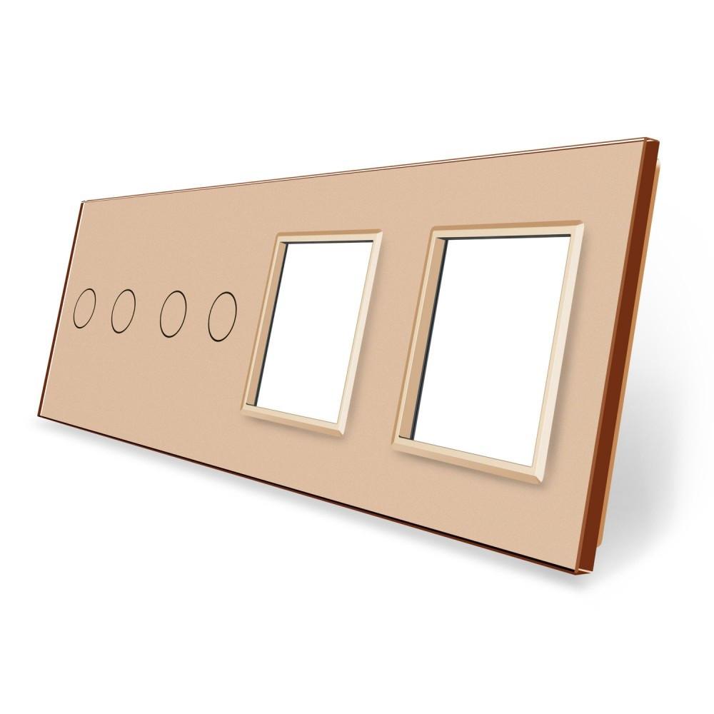 Сенсорная панель выключателя Livolo 4 канала и две розетки (2-2-0-0) золото стекло (VL-C7-C2/C2/SR/SR-13)