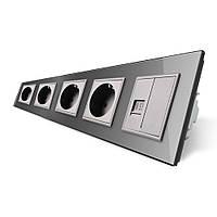 Розетка пятиместная комбинированная Силовая Интернет Livolo серый стекло (VL-C7C4EUK01C-15)