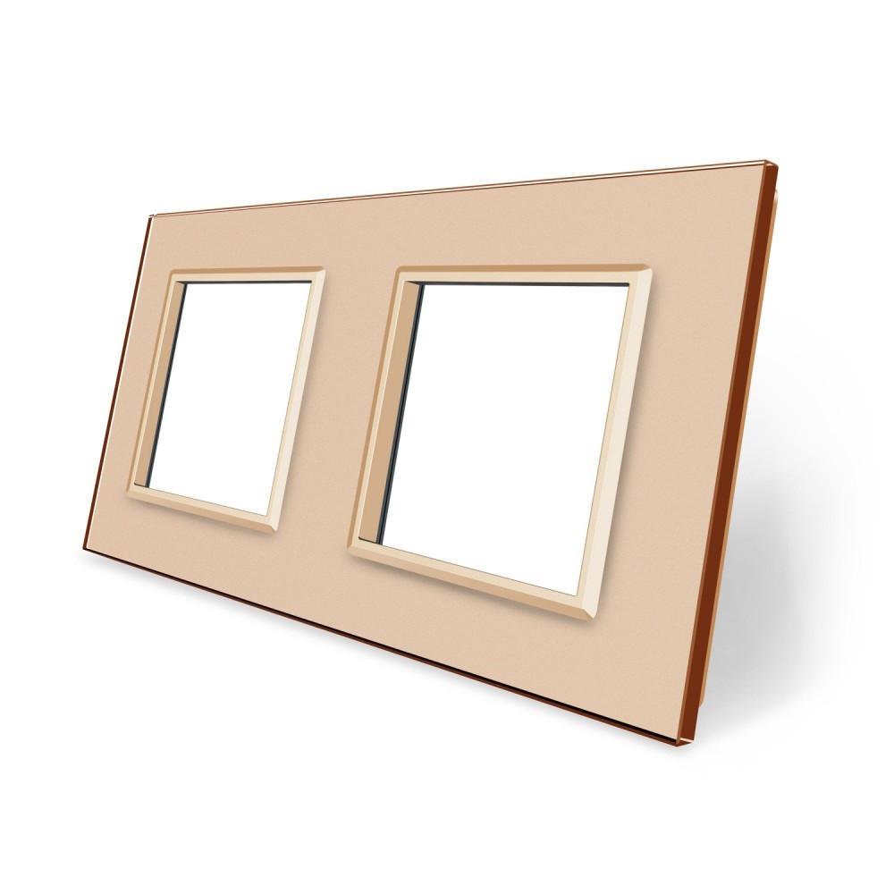 Рамка розетки Livolo 2 поста золото стекло (VL-C7-SR/SR-13)