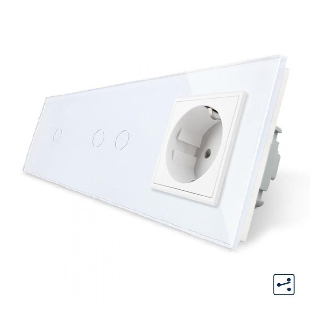 Сенсорный проходной выключатель Livolo 3 канала (1-2) с розеткой белый стекло (VL-C701S/C702S/C7C1EU-11)