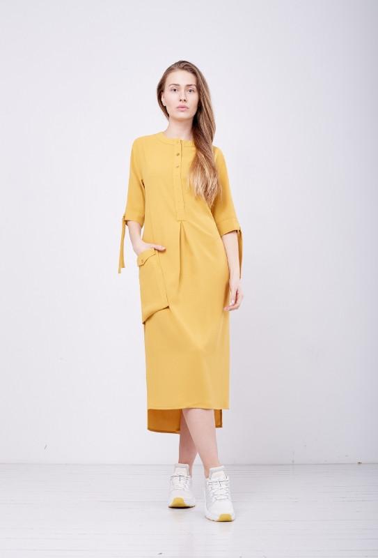 Плаття літнє жіноче гірчичне стильне дизайнерське PARI Топаз MKPR3658
