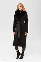 Женское пальто с воротником из натурального песца ПВ-192 В Черный