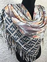 Двухсторонний кашемировый платок с брендовым и цветочным рисунком, фото 1
