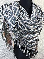 Двухсторонний кашемировый платок с брендовым и цветочным рисунком - купить на Kosinka.net