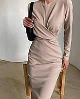 Женское стильное утонченное оригинальное миди платье креп костюмка бежевое мокко черное