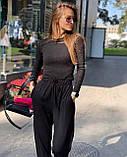 Женский трендовый костюм кофта и брюки трубы черный серый пудра трикотаж рубчик, фото 3