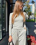 Женский трендовый костюм кофта и брюки трубы черный серый пудра трикотаж рубчик, фото 4