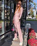 Женский трендовый костюм кофта и брюки трубы черный серый пудра трикотаж рубчик, фото 5