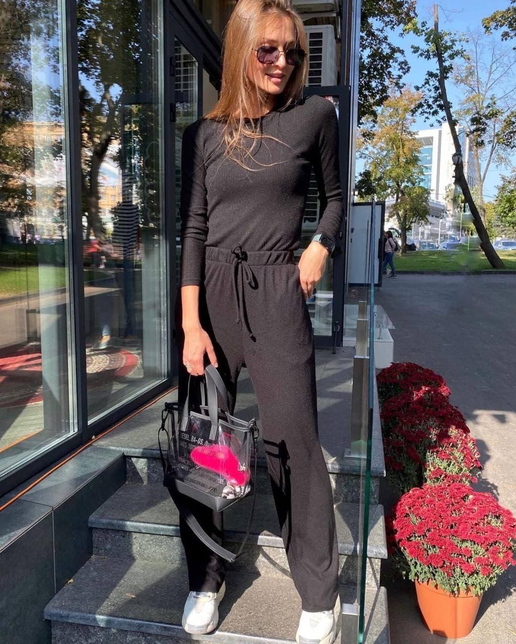 Женский трендовый костюм кофта и брюки трубы черный серый пудра трикотаж рубчик