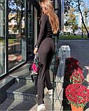 Женский трендовый костюм кофта и брюки трубы черный серый пудра трикотаж рубчик, фото 6