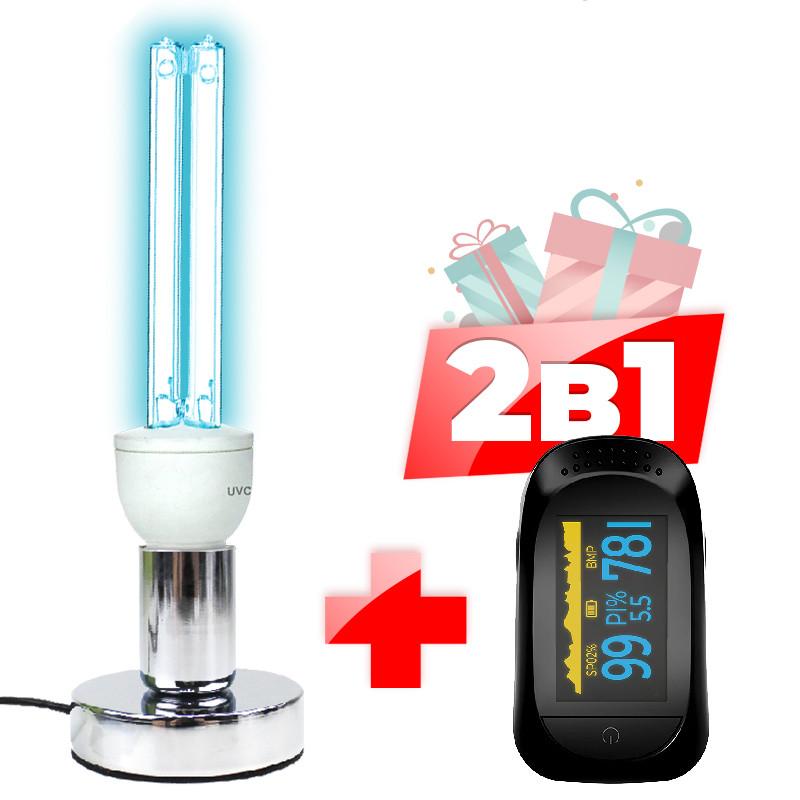 Кварцевая безозоновая лампа UVC 25W бактерицидная c основанием +  пульсоксиметр JETIX A2 Oximeter Pulse
