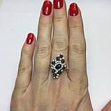 Черный опал, циркон кольцо с натуральным черным опалом и цирконами в серебре родированное 17 размер Тайланд, фото 2