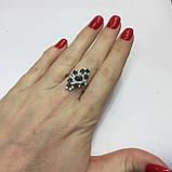 Черный опал, циркон кольцо с натуральным черным опалом и цирконами в серебре родированное 17 размер Тайланд, фото 6