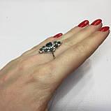 Черный опал, циркон кольцо с натуральным черным опалом и цирконами в серебре родированное 17 размер Тайланд, фото 7