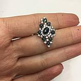 Черный опал, циркон кольцо с натуральным черным опалом и цирконами в серебре родированное 17 размер Тайланд, фото 4